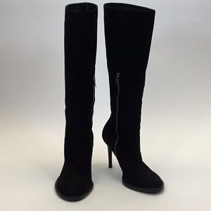 Ann Demeulemeester Black Suede Knee High Heel Boot